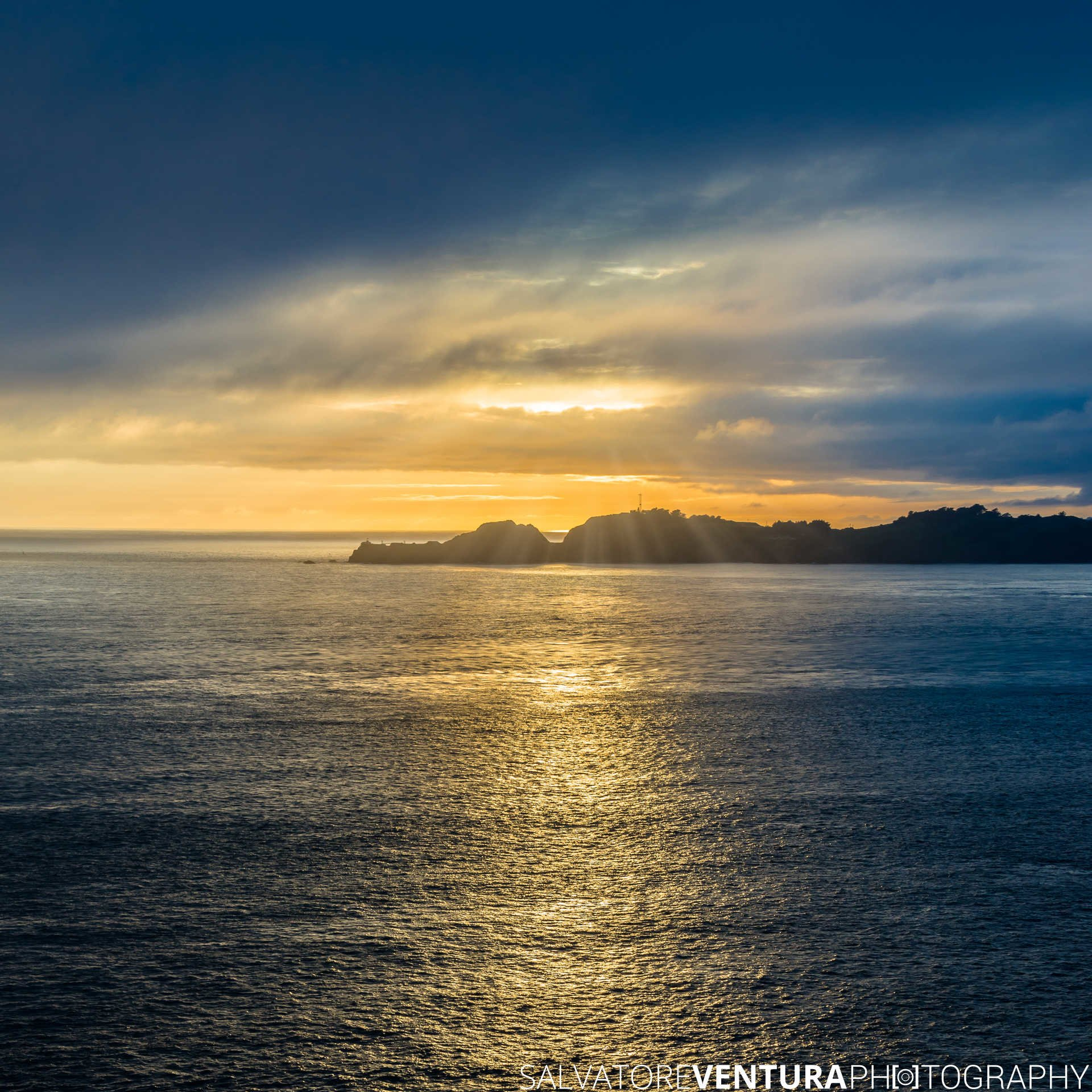 Point Bonita Lighthouse at Sunset (yellow/blue tones) - Salvatore Ventura Ph[o]tography